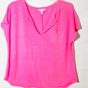 Lily Pulitzer V Neck Tee Pink